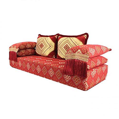 Orientalisches Sofa marokkanische Sitzcouch Set inklusive Füllung mit Rücken- & Lehnenkissen | Das Orginal aus Marrakesch | Arabische Sitzgruppe Sitzecke Sitzkissen Sark Kösesi | Sitzgarnitur Nadia