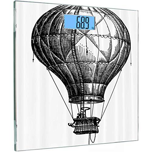 Ultradünne hochpräzise Sensoren Digitale Körperwaage Skizzierte Personenwaage aus gehärtetem Glas, großer Heißluftballon im Vintage-Stil für Reisen und Transport Themen-Kunst, Hellbraun, -