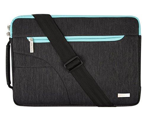 MOSISO Laptoptasche Kompatibel 15-15.6 Zoll MacBook Pro, Notebook Computer, Laptop Schultertasche Sleeve Hülle Polyester Umhängetasche stoßfeste Notebooktasche mit Handgriff, Schwarz & Heiß Blau