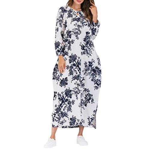 Robe FantaisieZ Femmes à Manches Longues en Coton Longues Poches Bohème Robe Caftan Floral Femme Robe Chic Longue à Fleur Manches en Coton Robe Maxi de Plage d'été Casual