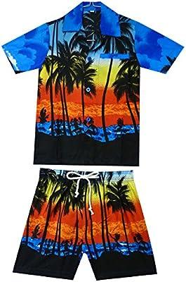 Original King kameha | Funky Hawaii Camisa y pantalones | 2piezas Cabana | Niños | 2–8años, Hawaii de Print | Mar de palmeras | Azul