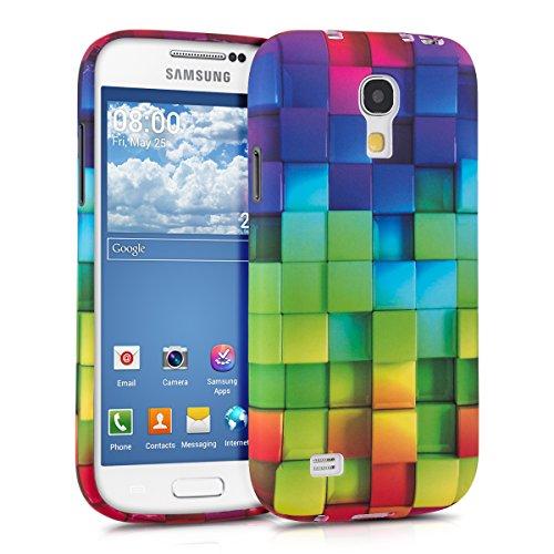 kwmobile Samsung Galaxy S4 Mini Cover - Custodia in silicone TPU per Samsung Galaxy S4 Mini - Back Case protezione posteriore cellulare multicolore / verde / blu