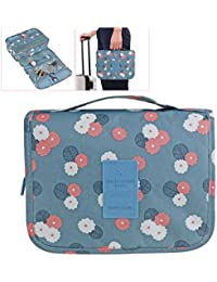 ULTNICE Bolso cosmético impermeable del maquillaje del bolso Bolso del almacenaje del almacenaje del bolso de la toalla con el gancho colgante para viajar azul