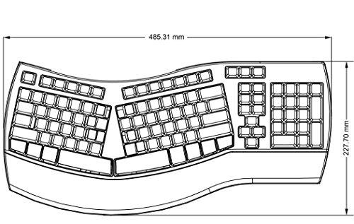 Perixx PERIBOARD-512 II Ergonomische Tastatur - Geteiltes Tastenfeld - USB - Empfohlen bei Tennisarm -QWERTZ Deutsches Layout - Schwarz - 8