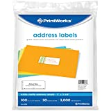 Printworks White Address Labels for Inkjet or Laser Printers & Copiers, Label Size 1 x 2-5/8 inches, 30 Labels per Sheet: 100 sheets, 3000 labels (00686)