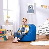 Bean Bag Bazaar Silla Tipo Puf Infantil Clásico - 58cm x 42cm, Puf Grande Infantil para Interiores o Exteriores (Azul, 1)