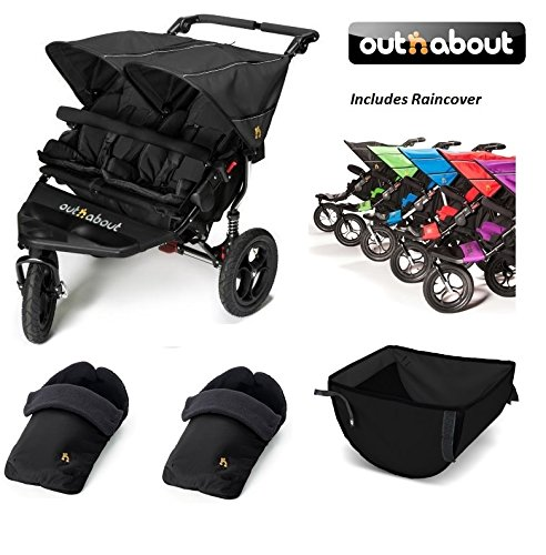 Out 'n' About Nipper Double 360 V4 Stroller/Footmuff/Basket Bundle - Raven Black Out 'n' About  1