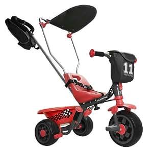 Hudora - 10242 - Vélo et Véhicule pour Enfant - Tricycle SX-3 - 10 - Pneus EVA avec Barre de Direction et de Poussée + Le Toit Inclinable Noir/Rouge