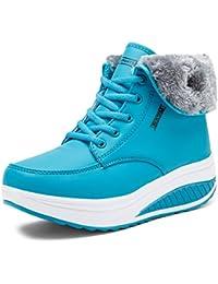 SAGUARO® Damen Wasserdicht Stiefeletten Plüsch Warm Gefütterte Winterstiefel Plateau Freizeitschuhe Schneestiefel Boots Winter Schuhe