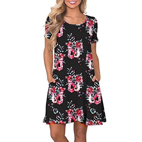 Damen Casual Sommer Rundhals Kurzarm Floral Bedruckte T-Shirt Kleid Sommerkleid Strandkleider ()