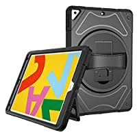 """A-BEAUTY Case for iPad 7th Generation 10.2"""" 2019, with [Screen Protector] [Stylus Pen] [Shockproof] [Dust Plug] [360° Rotation Disk], Black 1"""