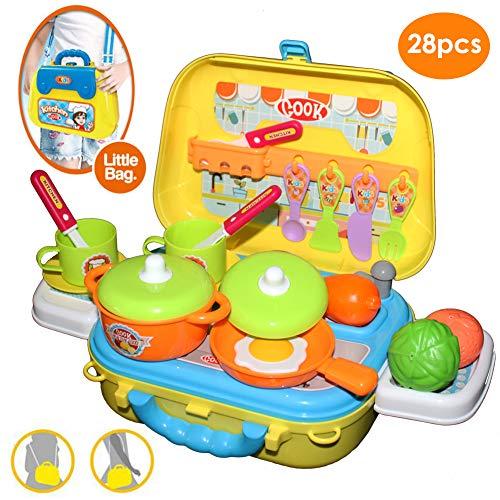 Buyger 28 Stück Rollenspiel Küche Spielzeug Koffer Lebensmittel Kochspielzeug Schultertasche für Kinder