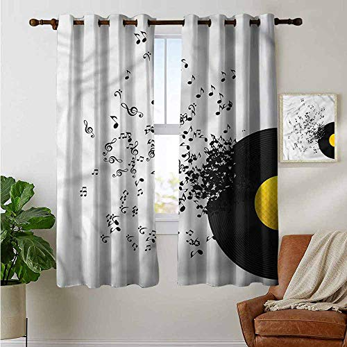 Saum Kreis Rock (petpany Verdunklungsvorhänge mit Musik, Emo Rock Trippy Grunge,Thermo-isolierte Paneele Home Decor Fenster Draperies für Schlafzimmer, Polyester, Color07, 42