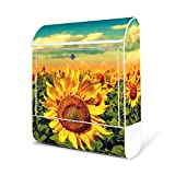 BANJADO Design Briefkasten weiß/38x47x13cm groß mit Zeitungsfach/Stahl pulverbeschichtet/Wandbriefkasten mit Motiv Sonnenblumen, Briefkasten:ohne Standfuß