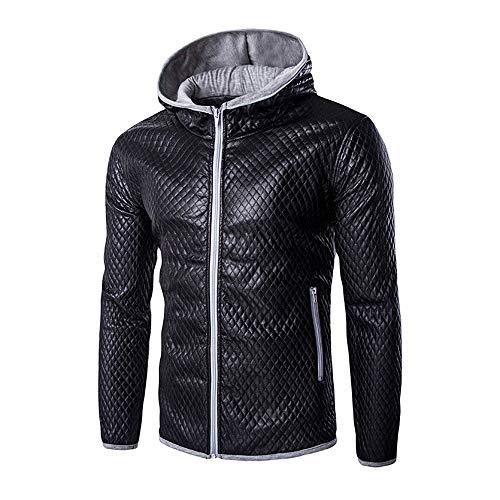 TWBB Herren Winter Warme PU Leder Kapuzen Kapuzenpullover Mantel Outwear Oberteile Mit Tasche