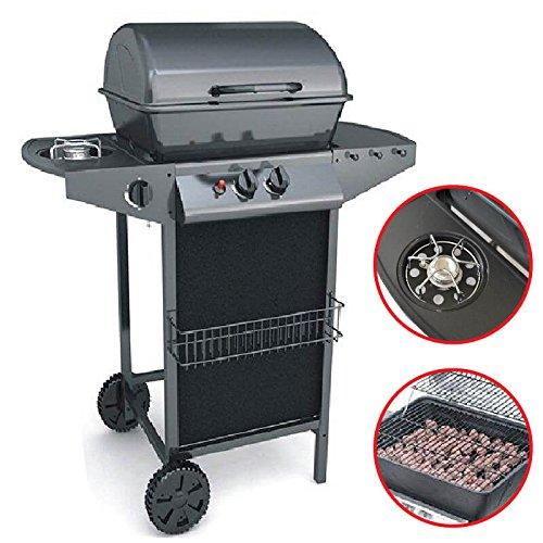 Barbecue a gas 2 fuochi doppia griglia con pietra lavica compresa e con fornello laterale