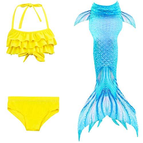 Tail Bear Kostüm - Doodle bear Mädchen Meerjungfrauenschwanz Bikini Set Zum Schwimmen mit Meerjungfrau Flosse Badeanzüge Prinzessin Cosplay Kostüm, 3 Stück Set