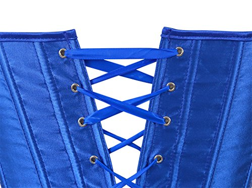 Body Shaper Damen Satin korsett Schnüren Überbrust Bridal Wäsche Korsett mit G-Schnur Top S-6XL Blue
