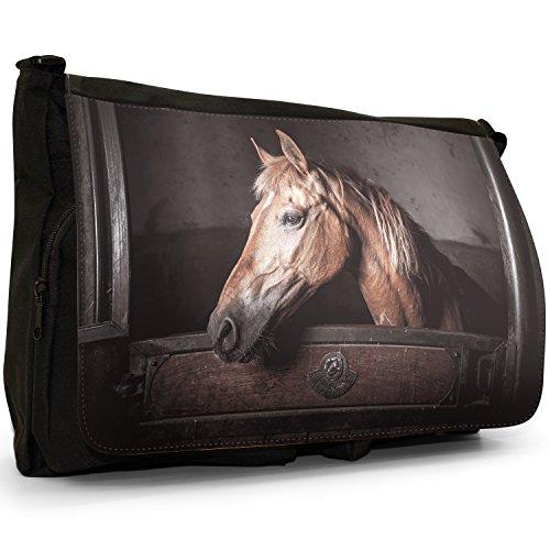 Elegante, motivo: cavalli, misura grande, colore: nero, Borsa Messenger-Borsa a tracolla in tela, borsa per Laptop, scuola Nero (Brown Horse In Stable)