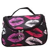 EJY Noir et Rouge Lèvres Zipper Sac Cosmétique Trousse de Toilette Trousse de Maquillage Voyage Sac à Main avec des Motifs de Lèvres