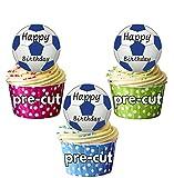 Joyeux anniversaire ballons-Bleu-Lot de 12 décorations de cupcakes comestibles en gaufrette pour cupcakes