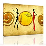 Bilderdepot24 Kunstdruck - Afrikanische Frauen - (Abstrakt) 60x50 cm - Bild auf Leinwand - Leinwandbilder - Bilder als Leinwanddruck - Wandbild