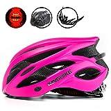 King Bike, casco + zaino porta casco/visiera staccabile/LED posteriore, luce di sicurezza, certificazione CE (M/L, L/XL), rose red, L:56-60CM