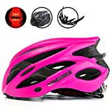 KING BIKE - Casco de Ciclismo, con Mochila/Visera Desmontable/luz Trasera Segura/Ligera/cómoda/Ajustable, Talla M, L, XL, Color Rosa roja, tamaño L:56-60CM