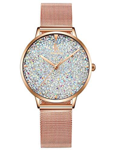 Alienwork Damen-Armbanduhr Quarz Rose-Gold mit Metall Mesh Armband Edelstahl Weiss Strass-Steinen Glitzer elegant