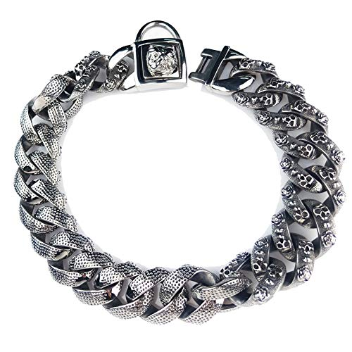 Luxury Dog Choke Collar Kette P Chain/Heavy Duty Stainless Steel 32mm Curb Chain/Best for Small Medium Large Breeds-for Pit Bull Mastiff Bulldog Big Breeds,Black,D -