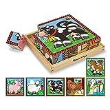Melissa & Doug- Farm Puzzle con Cubi in Legno, Multicolore, 775