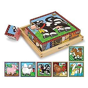 Melissa & Doug- Farm Cube Puzzle Rompecabezas de Cubo de 16 Piezas de Madera, Multicolor (775)
