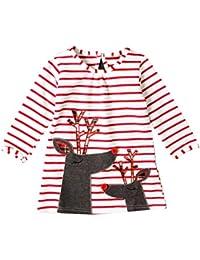 Hzjundasi Niños Chicas Pijama Vestido Navidad Camisón Mangas largas Raya Patrón Pijama Child Vestido 2-8 años