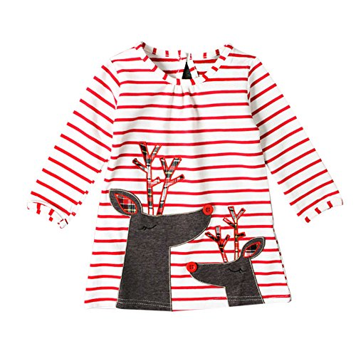 Mädchen Weihnachts-nachthemd (Meijunter Kind Mädchen Pyjama Kleid Weihnachten Nachthemd Lange Ärmel Streifen Elk-Muster Child Kleid 2-8 Jahre Rot Höhe 80cm)