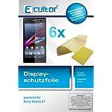 Ecultor Sony Xperia Z1 Schutzfolie (je 3 Stück für Vorderseite und Rückseite) inkl. Tuch und Rakel - klare Premium Folie als Displayschutz