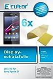 Ecultor I 6X Schutzfolie klar passend für Sony Xperia Z1 Folie Displayschutzfolie (3X Vorder- & 3X Rückseite)