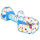 Avelaiva Kids Play Tent, Pop up Foldable Kids Play House Cubby with Tunnel and Ball Pit and Hoop, 3 in 1 Indoor Outdoor Baby Toys with Storage Bag, for Boys, Girls, and Toddlers (Blue)
