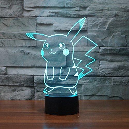 Pokemon pikachu 3d led luz de noche