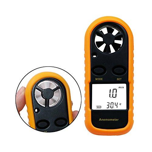 Jiusion Wind Geschwindigkeit Digital Anemometer LCD Handheld Wireless Handheld Meter Gauge Luftstrom Geschwindigkeitsmessung Thermometer Tester für Drachenfliegen Segeln Surfen Angeln (Wetter Meter Anemometer)