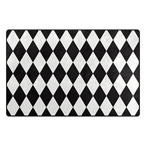 Bennigiry Schwarz Weiß Chevron Bereich Teppich Teppich Rutschfeste Eintrag Bodenmatte Fußmatten für Wohnzimmer Schlafzimmer 152,4 x 99 cm (Schwarz Und Weiß Chevron Teppich)
