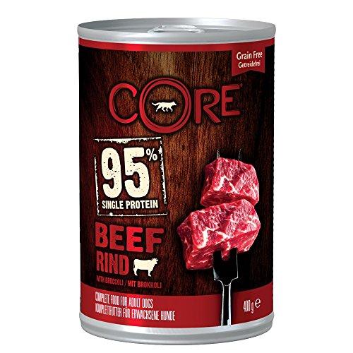 Wellness CORE 95, Hundefutter nass getreidefrei, hoher Fleischanteil, Rind& Brokkoli, 6 x 400 g