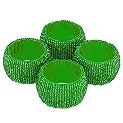 AsiaCraft Green Beaded Napkin Rings - Set of 4 Rings