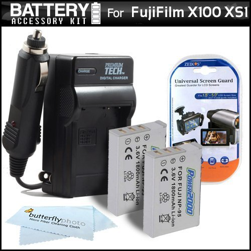 2 Pack Battery And Charger Kit For Fuji Fujifilm X-S1 X100 X100S XS1 Digital Camera Includes 2 Extended (1800Mah) Replacement NP-95 Batteries + Ac/ Dc Travel Charger + LCD Screen Protectors + MicroFiber Cleaning Cloth  available at amazon for Rs.3993