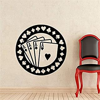 Quotes Wall Stickers Removable Vinyl Art Decal Poker Aces Casino Play Room Sticker Holdem Cards Game Gaming Nursery Wall Art