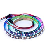 BTF-LIGHTING 1M 60 LEDs/Pixels/m WS2812B Schwarz PCB RGB adressierbare Strip Streifen mit 5050 SMD LEDs NichtWasserdicht IP30