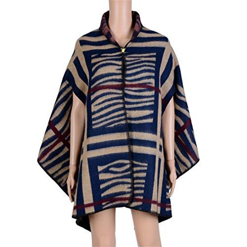 Honghu Cape Poncho Femme Tricot,Poncho Capes Châle Ouverture Extra Large écharpe Châle Poncho Automne Hiver Bleu foncé 2