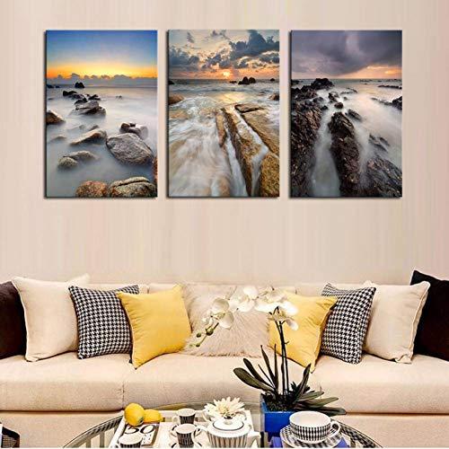 Zeitgenössische Kunst Landschaft (HYLBH Wandbild 3 Stücke Wandkunst Moderne Wasserfall Landschaft Leinwand Malerei Zeitgenössische Kunst Galerie Leinwand Wandmalerei Schöne Himmel Bild)