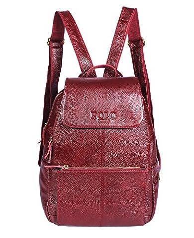VIDENG POLO Sac à dos en cuir Sac à main Casual Daypacks Mode École Voyage Randonnée Sacs à dos pour femmes, 4 tailles, 3 couleurs (rouge-B2)