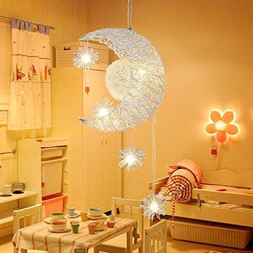 *Modern pendant light Moon Star Kronleuchter -Moon & Star Sweet Schlafzimmer Lichter Kronleuchter Deckenleuchte Haushalts Kronleuchter (Farbe : A) (Pendant Light Star)