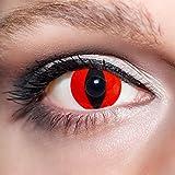 KwikSibs farbige rote Kontaktlinsen Katzenaugen 1 Paar (= 2 Linsen) weiche Funlinsen inklusive Behälter (Stärke / Dioptrie: 0 (ohne))